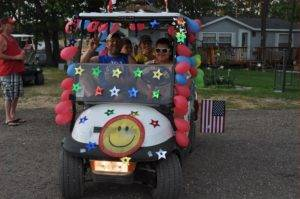 Decorated Golf Cart